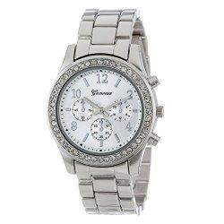 WATCH Crystals Han Shi Fashion Ladies Women Girls Faux Chronograph Quartz Classic Round Clock A Silver