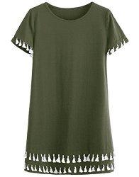 2ee97c5d093 Romwe Women's Short Sleeve Summer Loose Tunic Casual Tassel Dress Green XXL