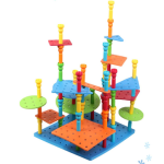 Wizcom Bubbles Blocks Pegs Model Building Logical Thinking Set Rubber Tower Mats Educational Toys