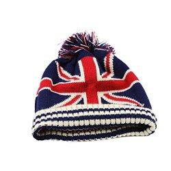 Raylans Women Men Crochet Knitted Ball Stripe Stars Winter Warm Beanie Hat Ski Cap British Flag