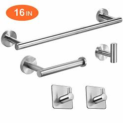 Tocten 5 Pieces Bathroom Hardware Set-brushed Nickel SUS304 Stainless Steel-towel Rack Set Include 16 Lengthen Hand Towel Bar+toilet Paper HOLDER+3 Robe Towel Hooks Bathroom
