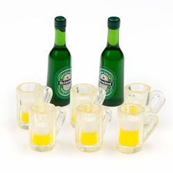 Amobester Dollhouse Miniature Beer Bottle And Beer Mugs For Dollhouse Kitchen Decoration