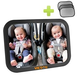 Vicsou Baby Car Back Seat Mirror View Rear Facing Infant In Backseat Convex And Shatterproof Glass Fully Assembled Crash Tested Distinctive Anti-vibration Gear Design With