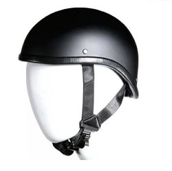 "BikerAccess Low Profile Skull Cap Harley Chopper Novelty Gladiator Flat Black Motorcycle Helmet Skid Lid Large 23"" - 23 1 2"""