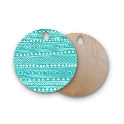 "KESS InHouse Fimbis""redefined Turquoise"" Teal White Abstract Modern Vector Digital Round Wooden Cutting Board"
