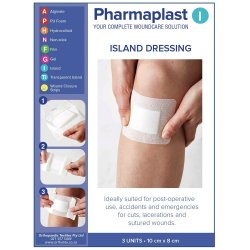 Pharmaplast Island Dressing 10 X 8CM 3'S