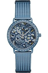 Guess W0822L3 Ladies Dress Stainless Steel Blue-tone Crystal Accented Bezel 30M Wr