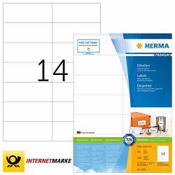 Herma 4674 Labels Premium A4 105X42 3MM White Paper Matt 1400 Pcs.