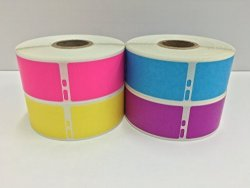 """Labels And More 1-1 8""""X3-1 2 Dymo Compatible 30252 Labelwriter Address 350 Labels P r 1 Roll Each Pk Bl Yl Pu"""