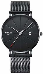 Nibosi Mens Analogue Quartz Watch With Stainess Steel Strap Black White