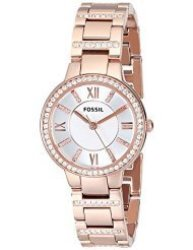 Fossil ES3284 Virginia Three Hand Stainless Steel Watch in Rose-Tone