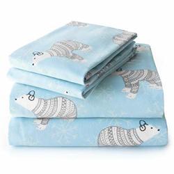 Jumpoff Jo Flannel Sheet Set Queen Polar Bears