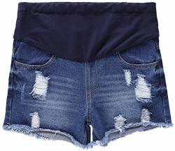 Aowkulae Women Pregnant Jeans Shorts Summer Care Belly Shorts Dark Blue Us 6=TAG 2XL