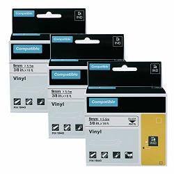 """3 Pack Replacement Dymo 18443 3 8"""" Rhino Permanent Vinyl Label Tapes Compatible With Dymo Rhino 4200 5000 5200 6000 Label Makers And More Black On White 3 8 Inch 9MM X 18 Feet 5.5M"""