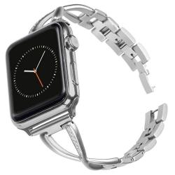 Pantheon Stainless Steel Metal Band - Compatible With Apple Watch For Women - Adjustable Link Bracelet - 38MM 40MM - Fancy Iwa