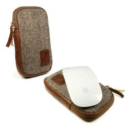 Tuff-Luv Herringbone Tweed Case For Apple Magic Mouse - Brown Fits Magic Mouse 1 And 2