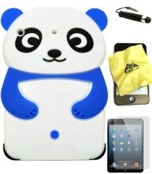 BUKIT CELL Blue 3D Panda Cartoon Soft Silicone Skin Case Cover For Apple Ipad MINI 16GB 32GB 64GB Wifi And 4G LTE Versions