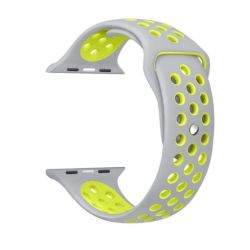 Grey And Yellow 42MM S m Nike Style Strap Band For Apple Watch