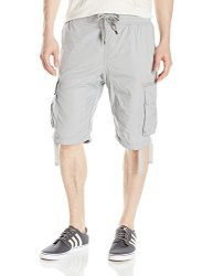 Southpole Young Men's Sportswear Southpole Men's Jogger Shorts With Cargo Pockets In Solid And Camo Colors Light Grey New XL