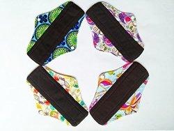 China 4PCS 10INCH Charcoal Bamboo Cloth Reusable Washable Menstrual Pads Sanitary Pads Panty Liner