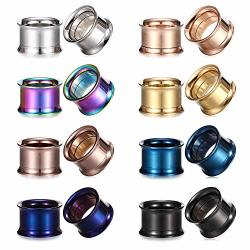 Ruifan 10 Pairs Set Natural Mixed Stone Saddle Ear Plugs Stretcher Expander Tunnels Gauges Piercing Jewelry 2g-12mm