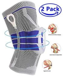 Knee Brace Compression Sleeve Elastic Knee Wraps Patella Stabilizer With Silicone Gel & Spring Support Hinged Kneepads Knee Prot