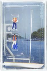 USA Preiser 10678 Korsar Sailboat W 2 Sailors Putting On Life Jackets Sails Down White Yellow Ho Scale Figure