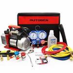 AUTOGEN Portable 4CFM 1 3HP Air Vacuum Pump Hvac R134A R12 R22 R502 A c Refrigeration Kit Ac Manifold Gauge Set Kit & Leak Detector &