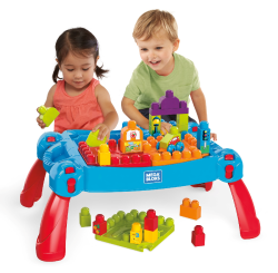 First Builders Build & 039 N Learn Table With Big Building Blocks - 30 Pieces