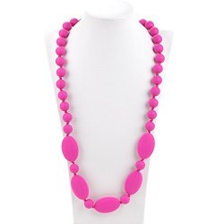 Consider It Maid Silicone Teething Necklace For Mom To Wear - Free E-book - Bpa Free And Fda Approved - One Love Violet Red