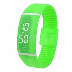 Vanpower Men Women Electronic LED Display Sports Plastic Digital Wrist Watch Green