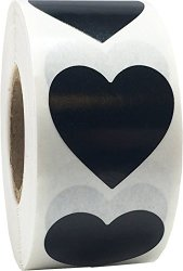 InStockLabels.com Black Heart Stickers 1 Inch In Size 500 Labels On A Roll