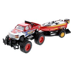 Mozlly Monster Truck Trailer With Speed Boat - Friction Push Powered Hauler Play Set - Great Car Boat Fun Adventure For Boys Kids Toddlers