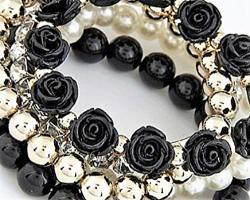 The Crafty Owl Different Styles Of Bohemian Pearls And Flowers Multi Layer Bracelets Black