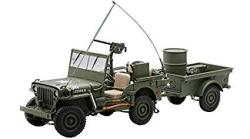 Willys Jeep Army Green With Trailer And Accessories 1 18 By Autoart 74016