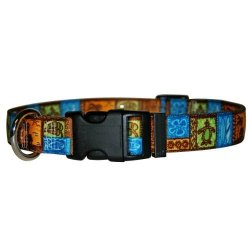 "Yellow Dog Design Tiki Print Dog Collar With Tag-a-long Id Tag SYSTEM-SMALL-3 4"" Wide And Fits Neck 10 To 14"