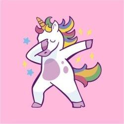 Unicorn Dab Womens Pink T-Shirt Small