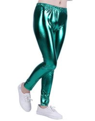 f42c6cecc8801 HDE Girls Shiny Wet Look Leggings Kids Liquid Metallic Footless Tights  4T-12 Green 10 12