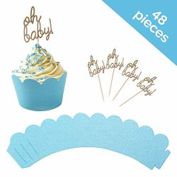 HSAS Creations Baby Shower Cupcake Toppers And Wrapper 48 Piece Set- Oh Baby Cupcake Toppers And Blue Cupcake Wrappers For Boy Baby Shower