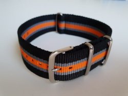 22MM Nato Watch Strap Black grey orange