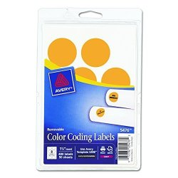 Avery Self-adhesive Removable Labels 1.25 Inches Diameter Orange Neon 400 Per Pack 05476