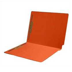 14 Pt Color Folders Full Cut 2-PLY End Tab Letter Size 2 Fasteners In Pos 1 & 3 Orange Box Of 50