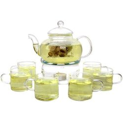 KENDAL 27 Oz Glass Filtering Tea Maker Teapot With A Warmer And 6 Tea Cups CJ-BS808A