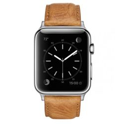 Colton James Leather Strap For Silver 38MM Apple Watch - Tan