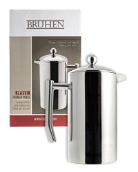 Bruhen Large Stainless Steel French Press Coffee Maker - Double Wall Tea Or Coffee Press - 36 Oz 1 Liter - With Bonus Extra Filter