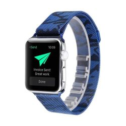 Metal Strap For Apple Watch Compatible With 38MM & 40MM Camo Blue