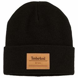 Timberland Men's Watch Cap Knit Beanie With Leather Patch Black T100916C-001 One Size