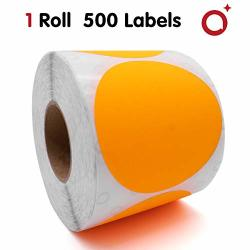 "1 Roll Of 3"" Round Color Coding Dot Labels 500 Labels roll Neon Colored Circle Dot Inventory Stickers Writable For Varous Uses Fluorescent Orange"