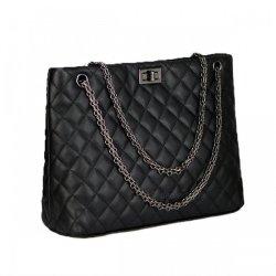 Rhombus Pattern Fashion Pu Bag For Women Multifunction Handbag Shoulder Bag Black