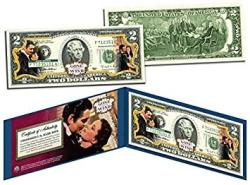 USA Gone With The Wind Movie Colorized $2 Bill Us Legal Tender Officially Licensed
